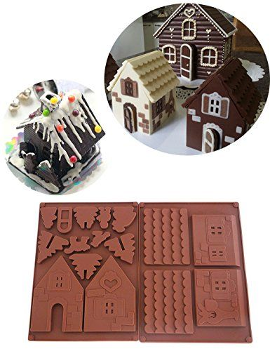 2 PCS Silicone Gingerbread Tree Chocolate House Mold For Christmas Cookies Mould