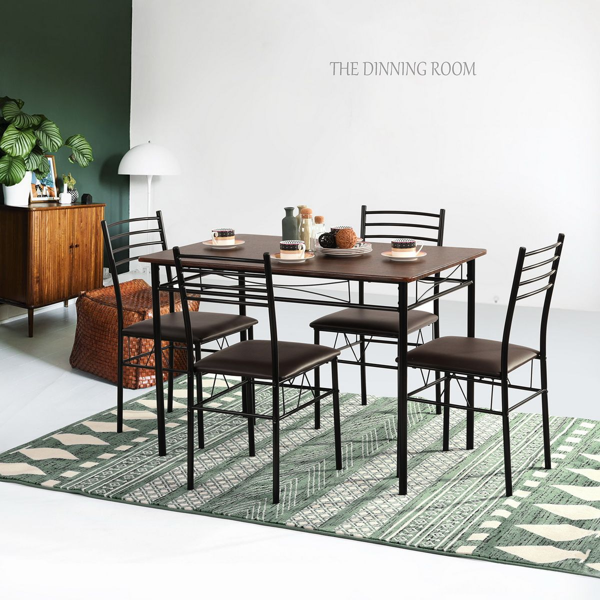 4 Seater 100cm Dining Table Set Walnut Metal Dining 5 Piece Kitchen Room Set Dining Table Simple Furniture Dining