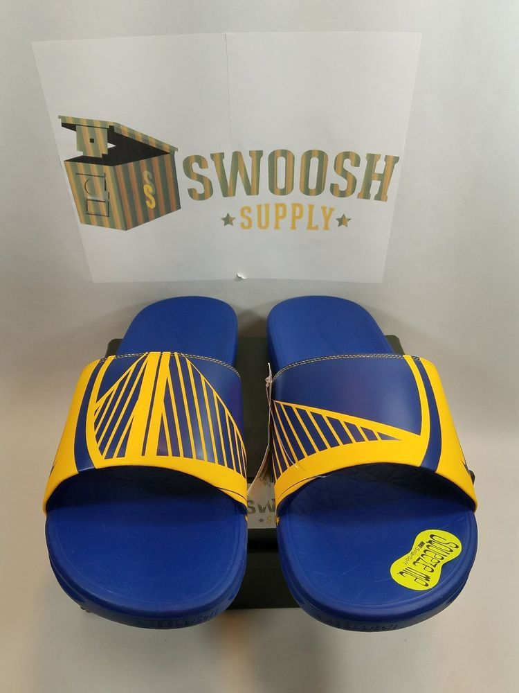 e2f077ca67e0 Nike Benassi Solarsoft NBA Golden State Warriors Slide Sandal Size 15  917551 701  Nike  Slides