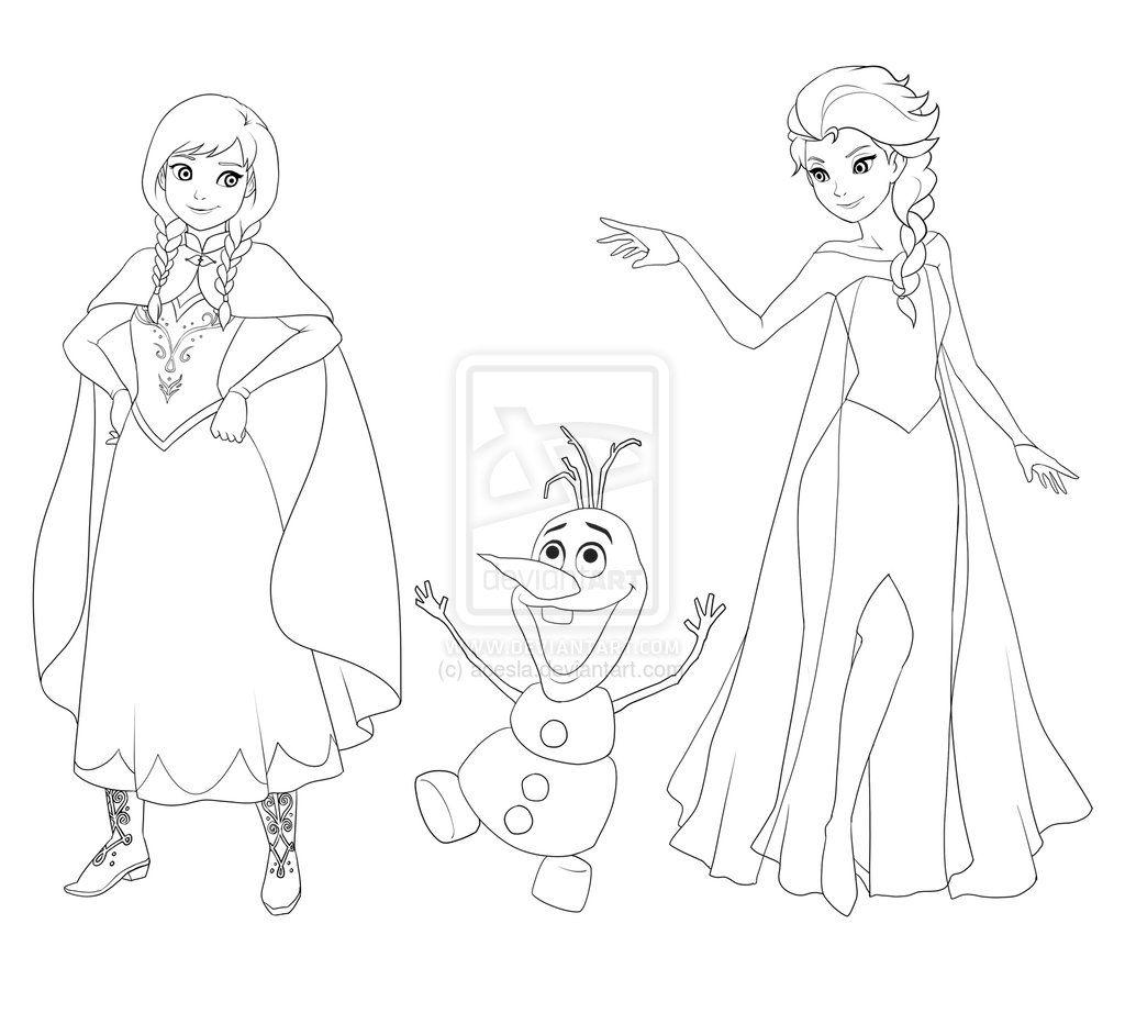 Frozen Anna Olaf Elsa By Acesla On Deviantart Olaf Drawing Disney Olaf Elsa Drawing