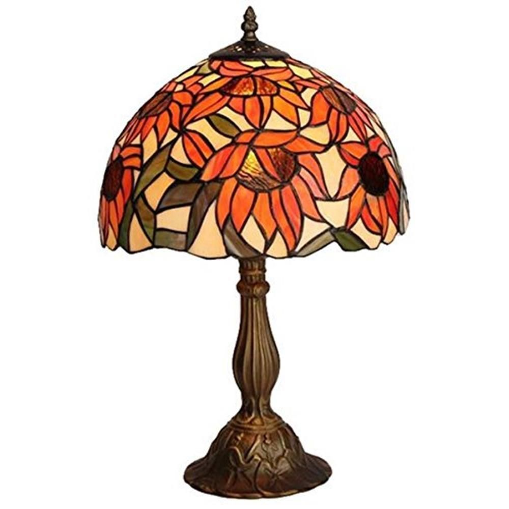 Amora Lighting 16.5 in. Tiffany Style Sunflower Table Lamp
