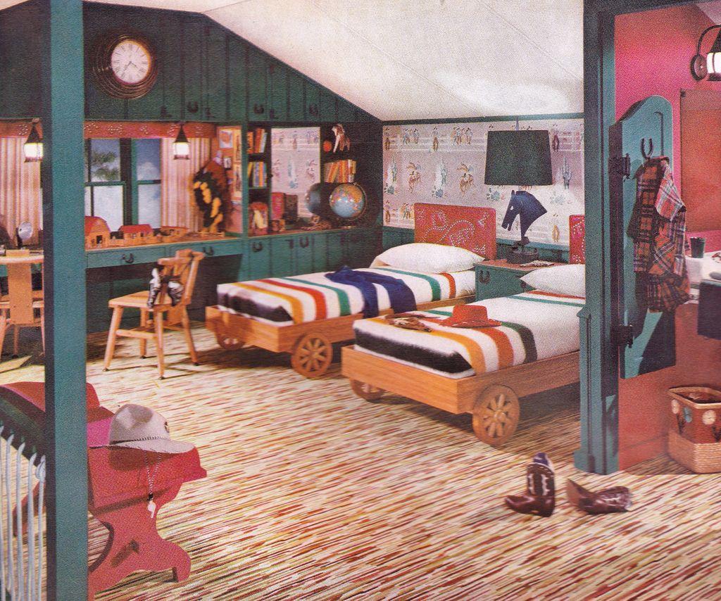Retro Bedroom Decorating: Boys' Bedroom, 1952. Armstrong Linoleum Floor.