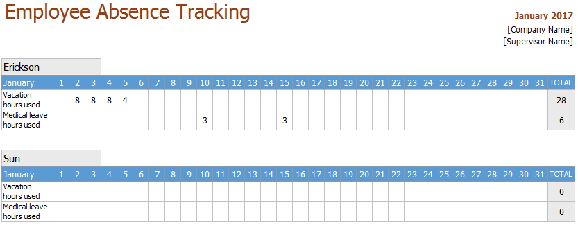 employee leave tracker excel