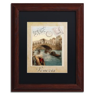 "Trademark Art 'European Vacation I' Framed Graphic Art Size: 14"" H x 11"" W x 0.5"" D, Mat Color: Black"