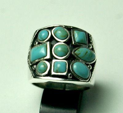 Online veilinghuis Catawiki: Sterling zilveren ring met 9 Turkoois stenen