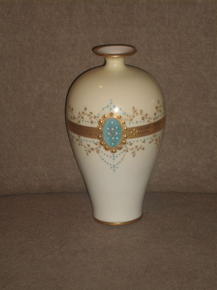 Very Rare Cac Lenox Ivory Vase Gold Blue Dot Pattern Old Lenox Cac