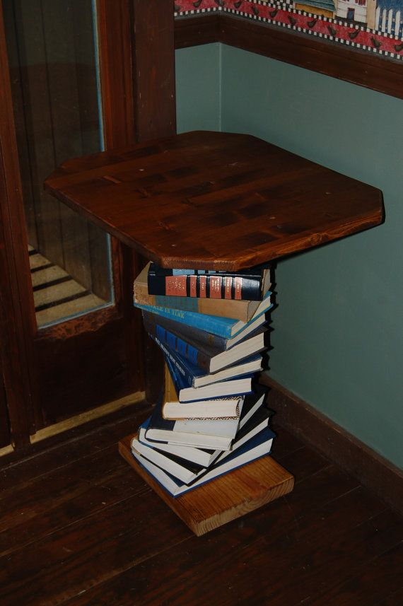 Pine Wood Side Table Made With A Spiral Of Books By BeansBounties, $150.00