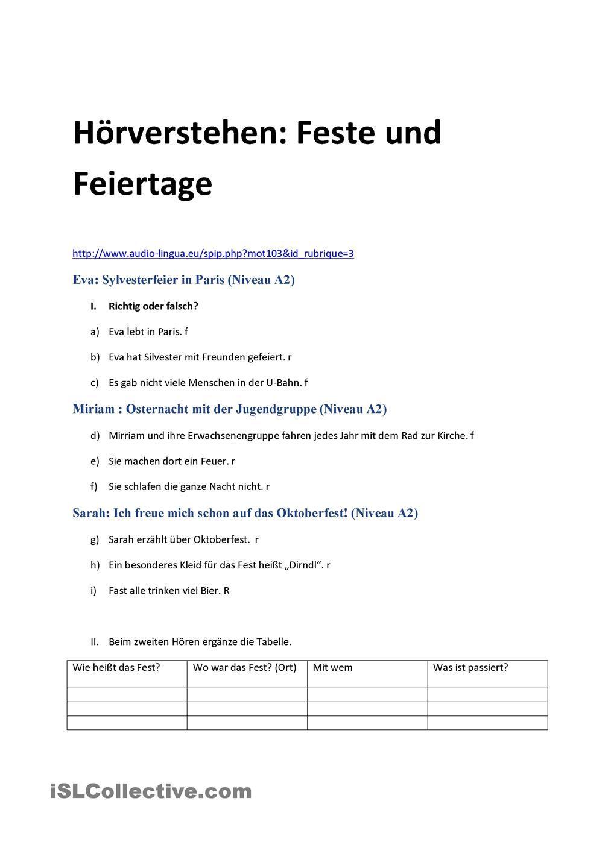 Hörverstehen zum Thema Feste | Y11 German Videos/Listening ...