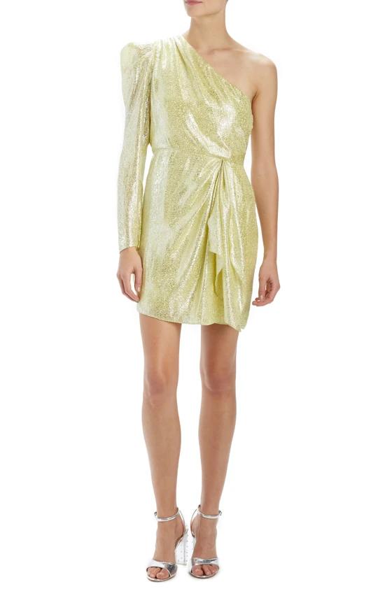 ML Monique Lhuillier One Shoulder Metallic Dress – moniquelhuillier