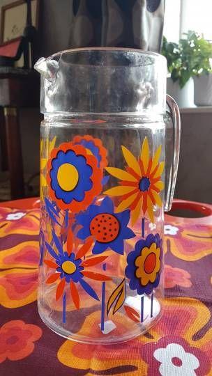 Pichet en verre fleuri Vintage