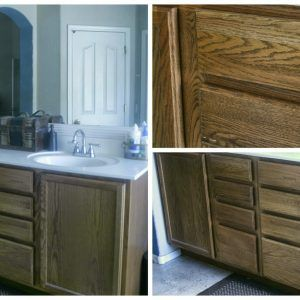 Staining Bathroom Cabinets Without Sanding Http Rh Pinterest Com Refinish Wood Painting