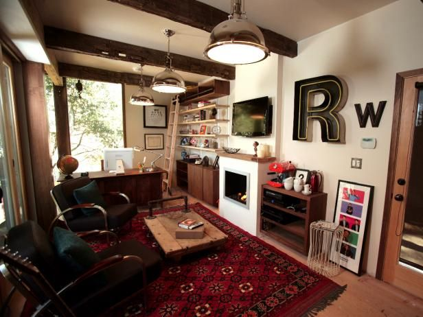 Rainn Wilson S Home Office Man Cave With Images Small Room