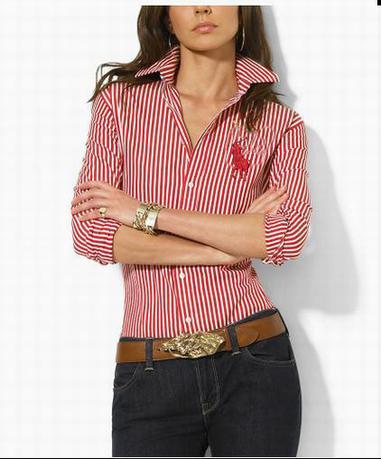 Women's Ralph Lauren Shirts, Ralph Lauren Women'S Cotton Stripe Shirt With  Red/White 02