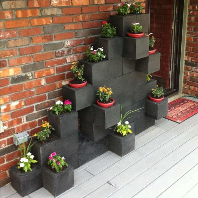 Spray Paint Cinder Blocks Black Or Dark Steel Grey Cinder Block Garden Backyard Garden Vertical Garden