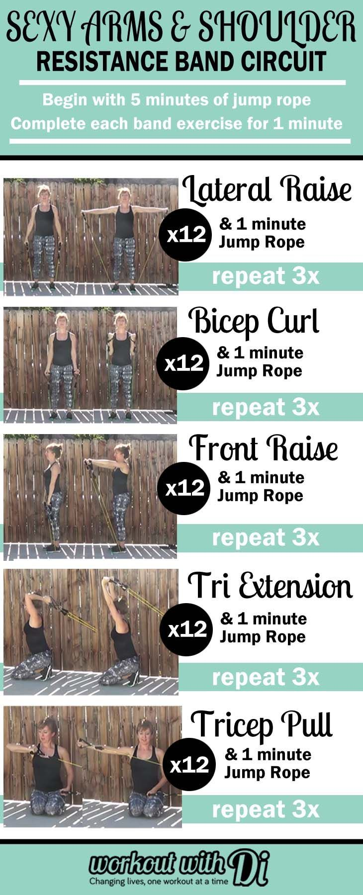 sexy arms and shoulder resistance band circuit workout