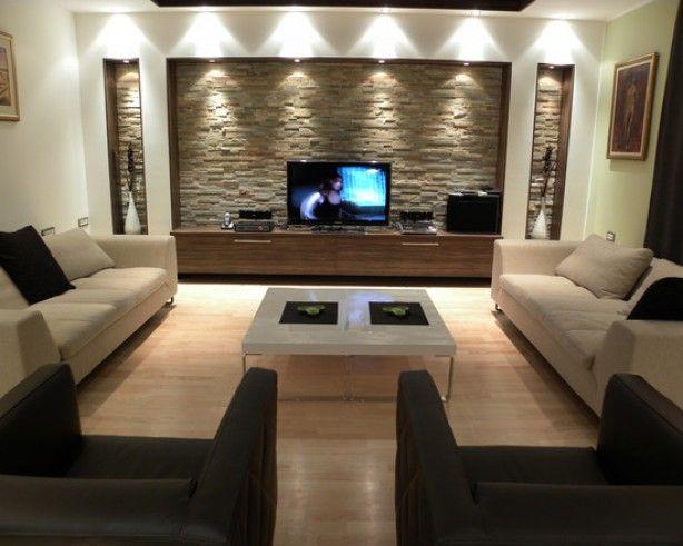 Ideeen Verlichting Woonkamer : Steenstrips muur plus halogeen verlichting huis in
