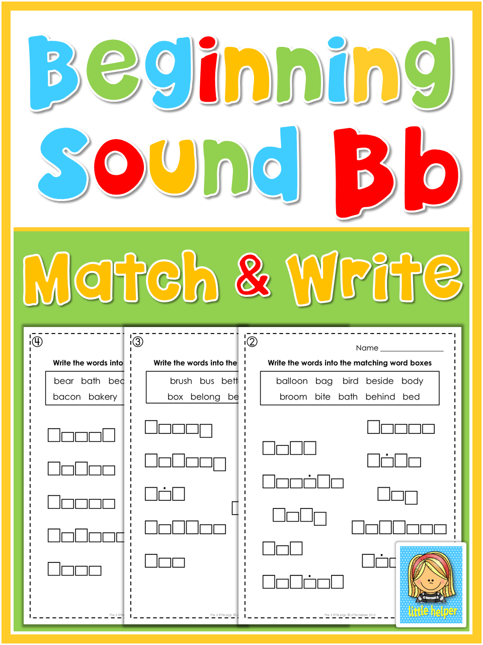 Letter B B Writing And Spelling Fun For Beginning Writers Students Have To Find The Matching Letterbox Shape For Each Spelling Fun Beginning Sounds Word Boxes