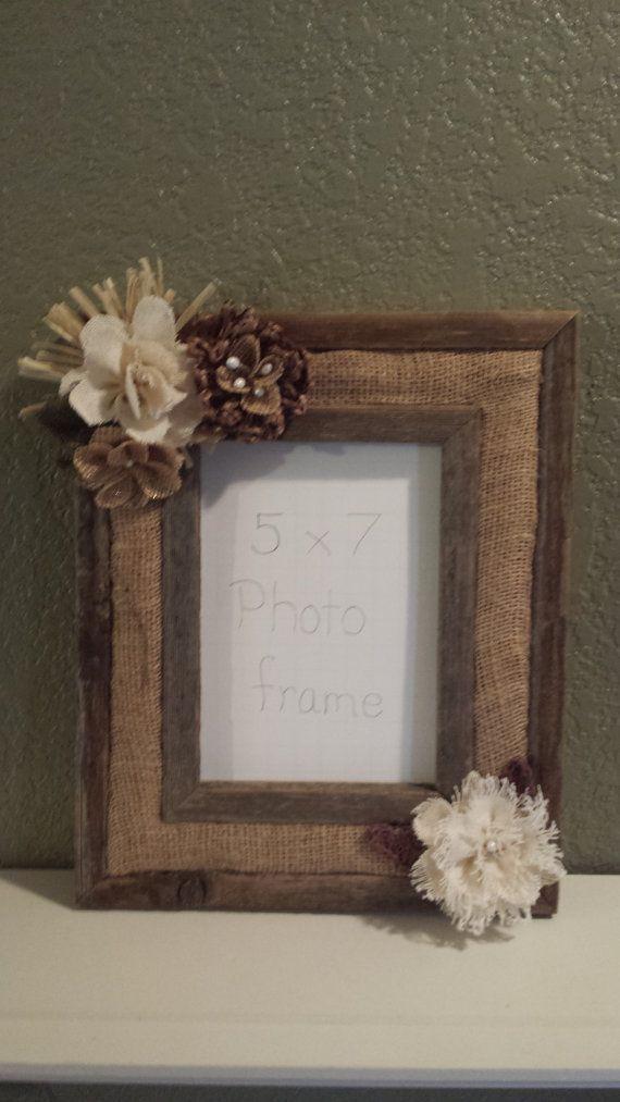 Barn Wood Rustic Picture Frame Handmade Burlap Flowers