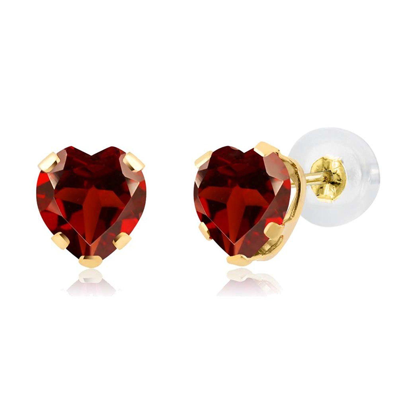 Fine Jewelry Genuine Red Garnet 14K White Gold Stud Earrings 5ADG8a8f
