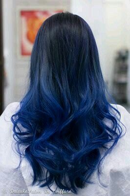 Ombre Black To Blue Hair Hair Pinterest Blue Hair
