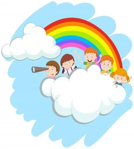 تصميم اطفال فوق السحاب مع قوس قزح Sunday School Crafts For Kids Happy Kids Cartoon Kids