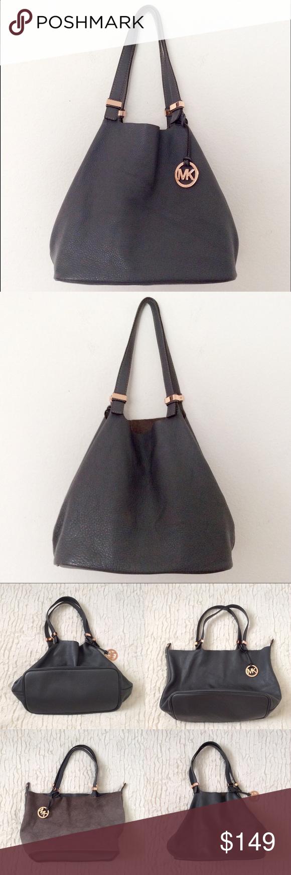 cf4894969e3e MK Colgate Reversible Tote Bag 💯Authentic MK Michael Kors Colgate  Reversible Pebbled Leather Tote Bag