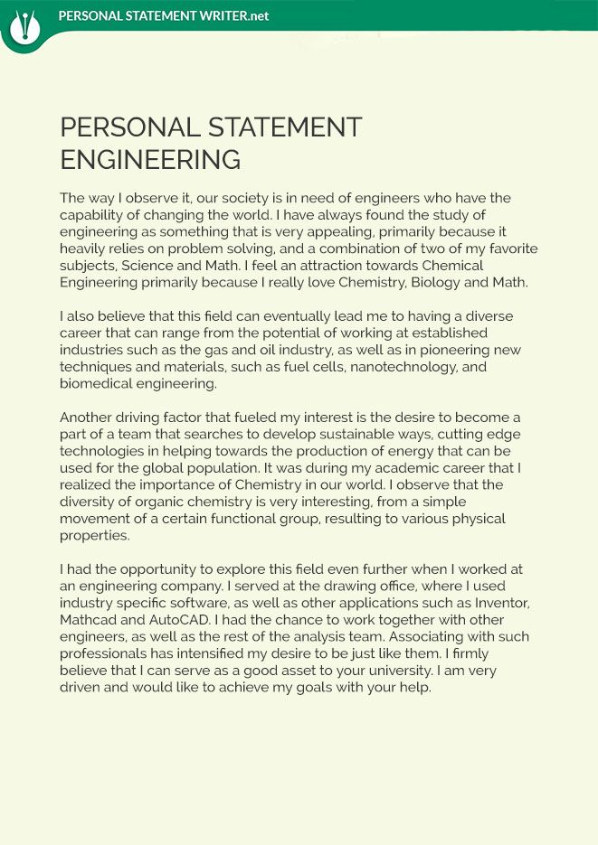 This engineering personal statement sample will help you to achieve - best of 7 scholarship personal statement sample