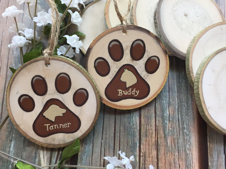 Custom Dog Ornament Dog Ornament Paw Print Ornament Wood Slices Personalized Ornament Dogs Cats Cat Paw Print Ornament Dog Ornaments Custom Dog Ornament