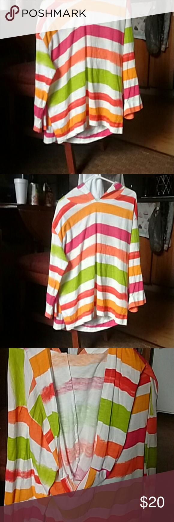 Calvin Klein hooded top Multicolored casual 3/4sleeve Calvin Klein Tops Sweatshirts & Hoodies