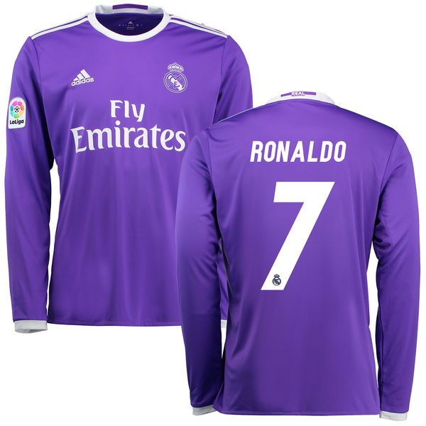Cristiano Ronaldo Real Madrid Adidas 2016 17 Away Replica Long Sleeve Jersey Purple 86 24 Long Sleeve Jersey Adidas Women Adidas 2016