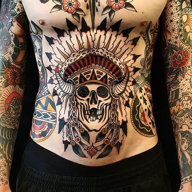 native american skull tattoo by jesper j rgensen nativeamericanskull traditional. Black Bedroom Furniture Sets. Home Design Ideas