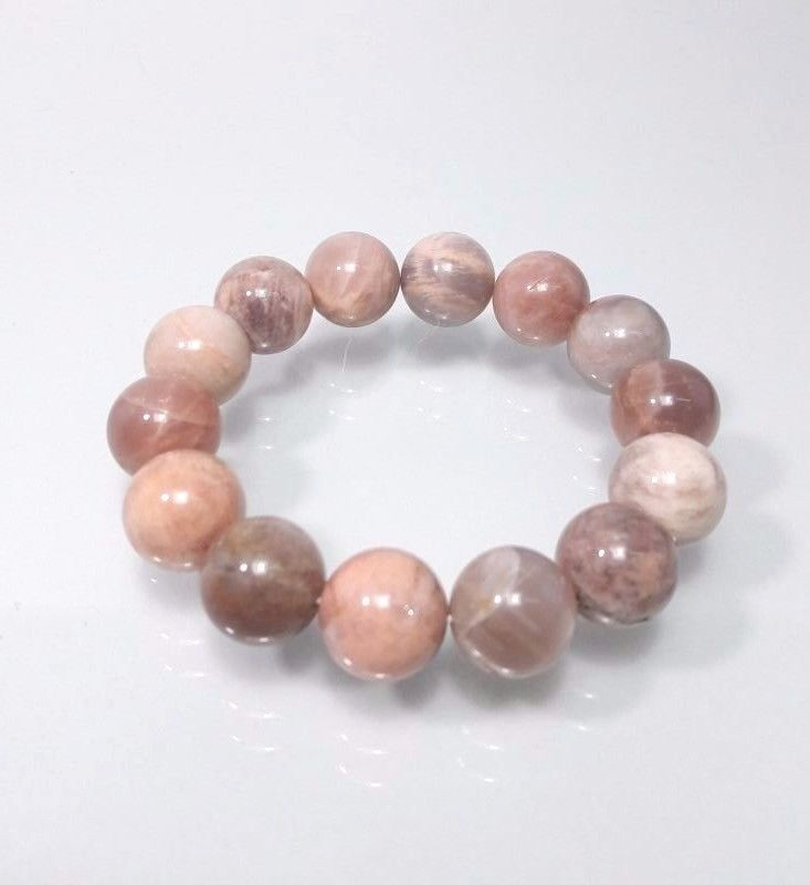 14 mm Natural Sunstone Quartz Earth Round Cuhsion Beads Stretch Bracelet #Impressdeal #Bracelet