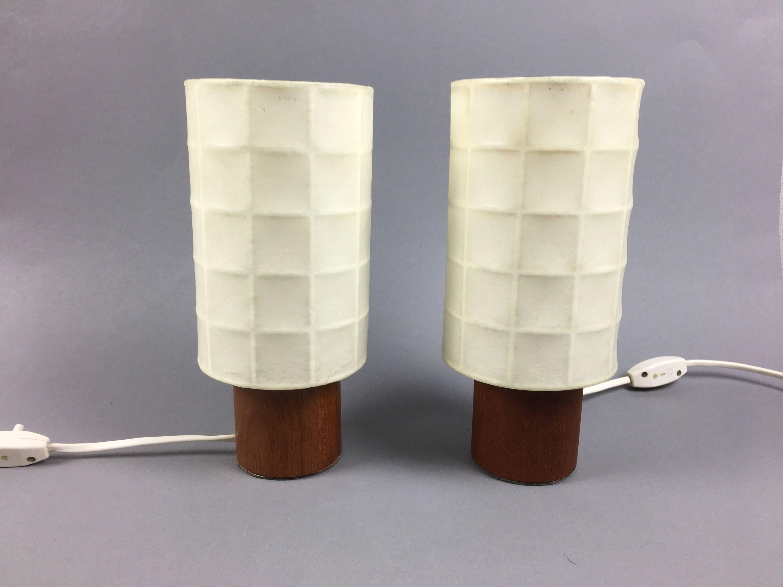 seltene mid century modern nachttischlampen tischlampen kleine lampen teak holz fu cocoon schirm von - Nachttischlampen