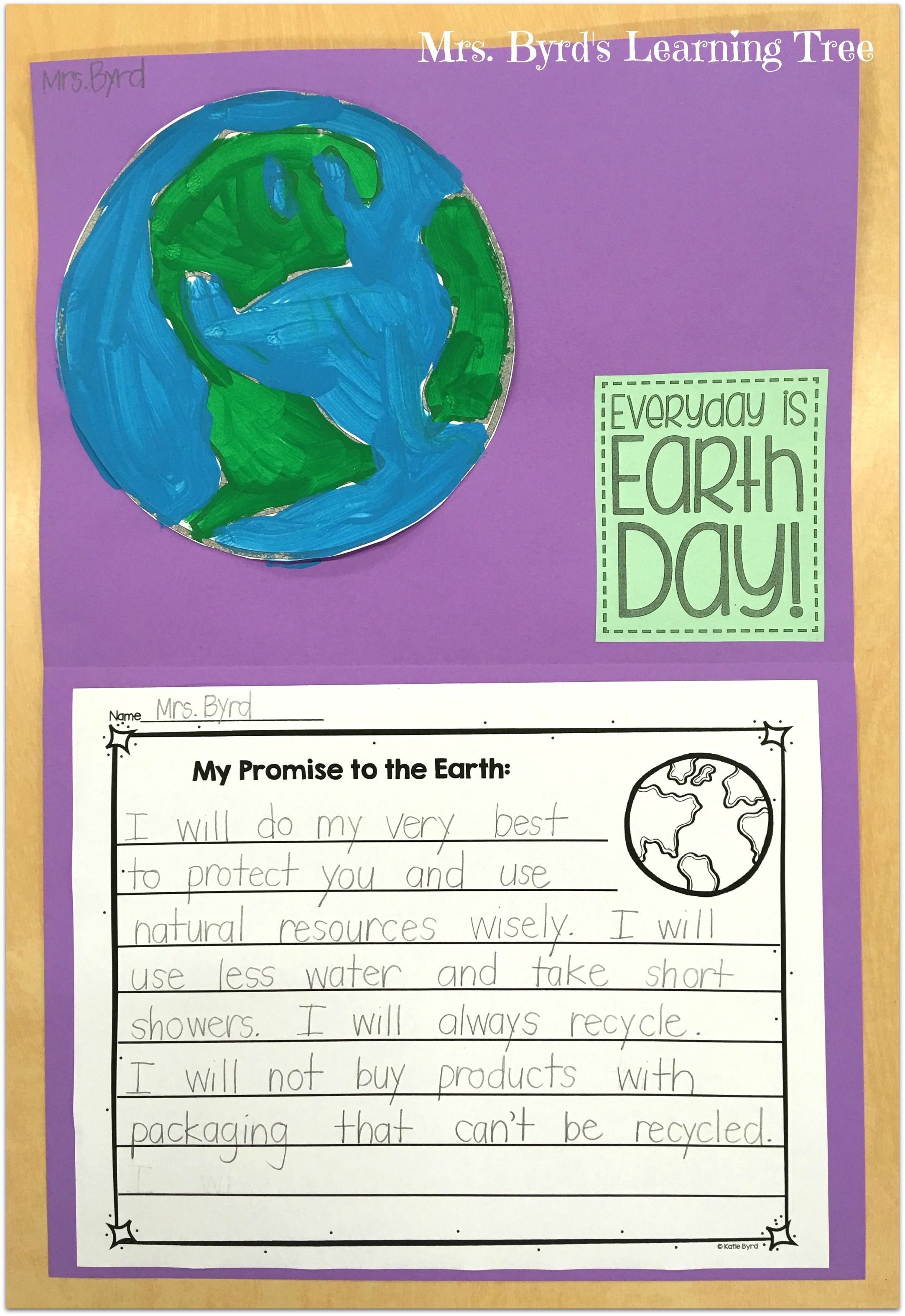 Freebie Earth Day Promise Writing And Craftivity Earth Day