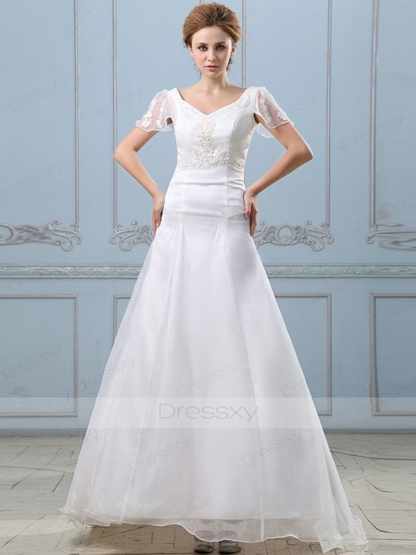 Fantastic A-line V-neck Floor-length Organza Wedding Dress | Wedding ...