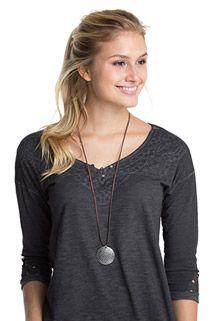 Esprit / imitation suede necklace + textured charm