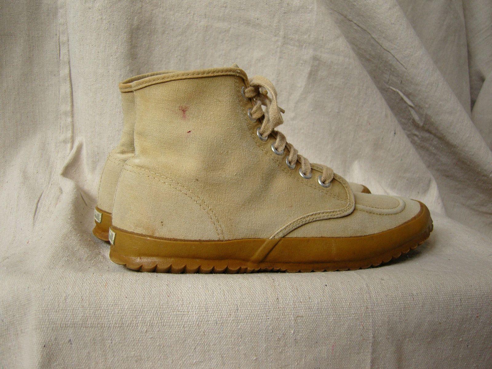 Vtg 70s LL BEAN MAINE HIKING SHOE Duck Canvas 9.510 Boot