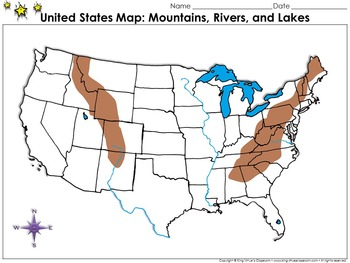 United States Mountains Rivers And Lakes Map Blank Full Page