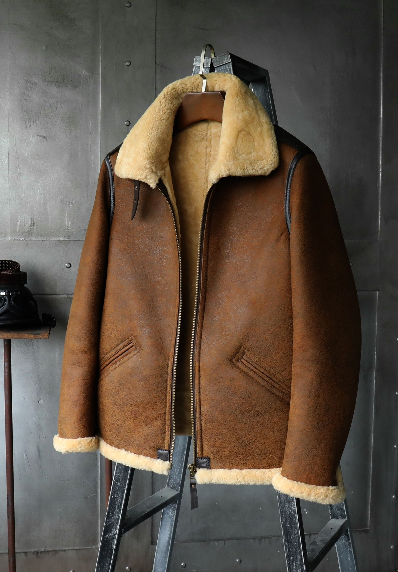 becdb86c59b B3 Men's Shearling Jacket Flight Jacket Short Fur Leather Jacket Imported  Wool From Australia Mans Sheepskin Aviator Fur Coat
