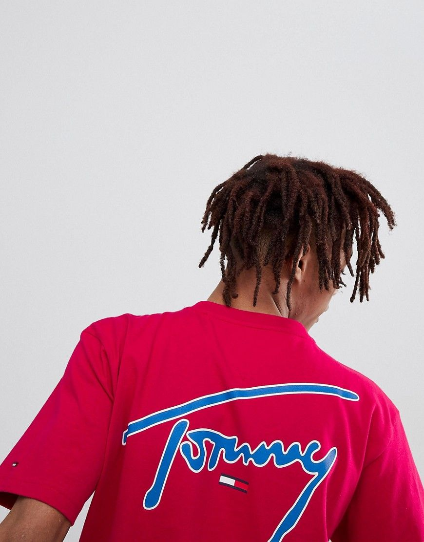 cd36a5c8 TOMMY JEANS SIGNATURE CAPSULE LOGO FRONT AND BACK PRINT T-SHIRT RELAXED FIT  IN PINK - PINK. #tommyjeans #cloth #