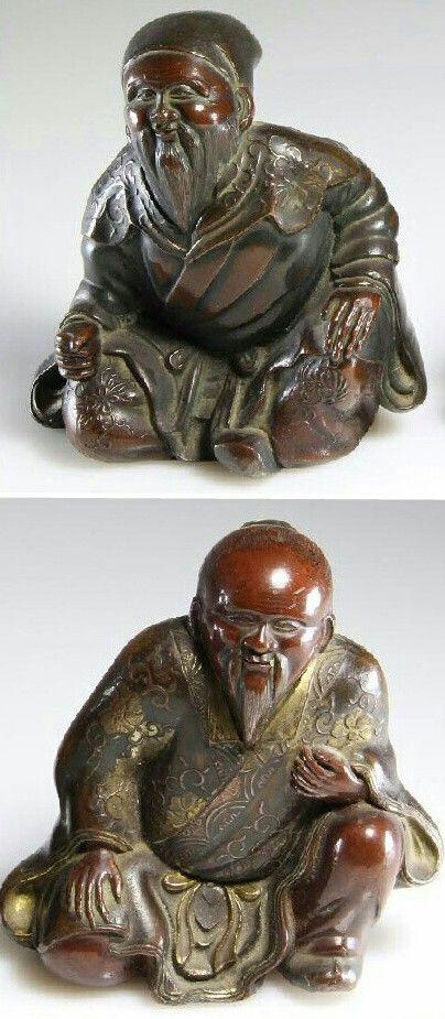 Japanese, parcel gilt, bronze Okimono (sculptural ornament) from the late Edo - early Meiji era (19th Century)  #Japan #AntiqueSculpture