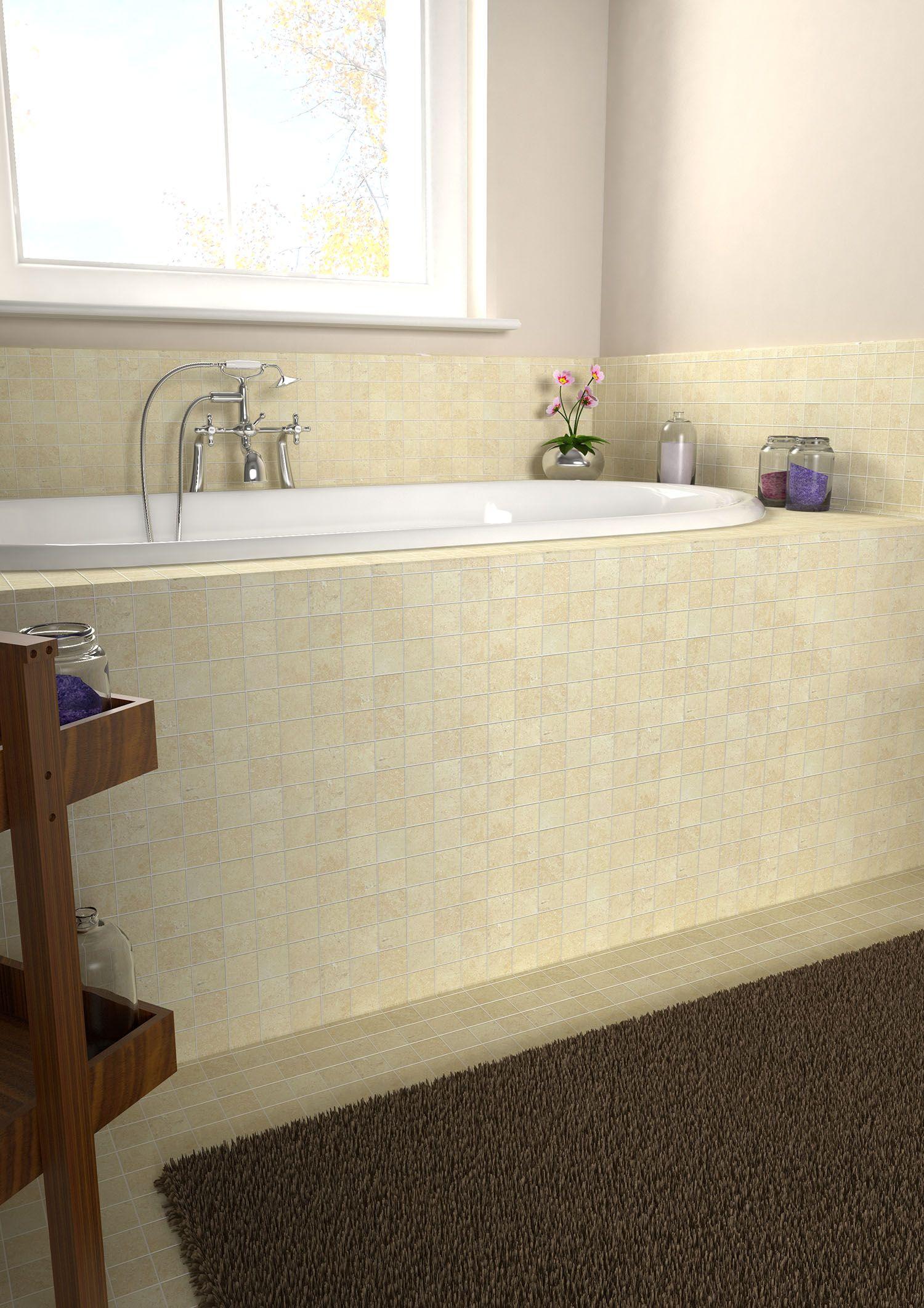 Create a calming bathroom with our Nova Roma Light Travertine mosaic ...