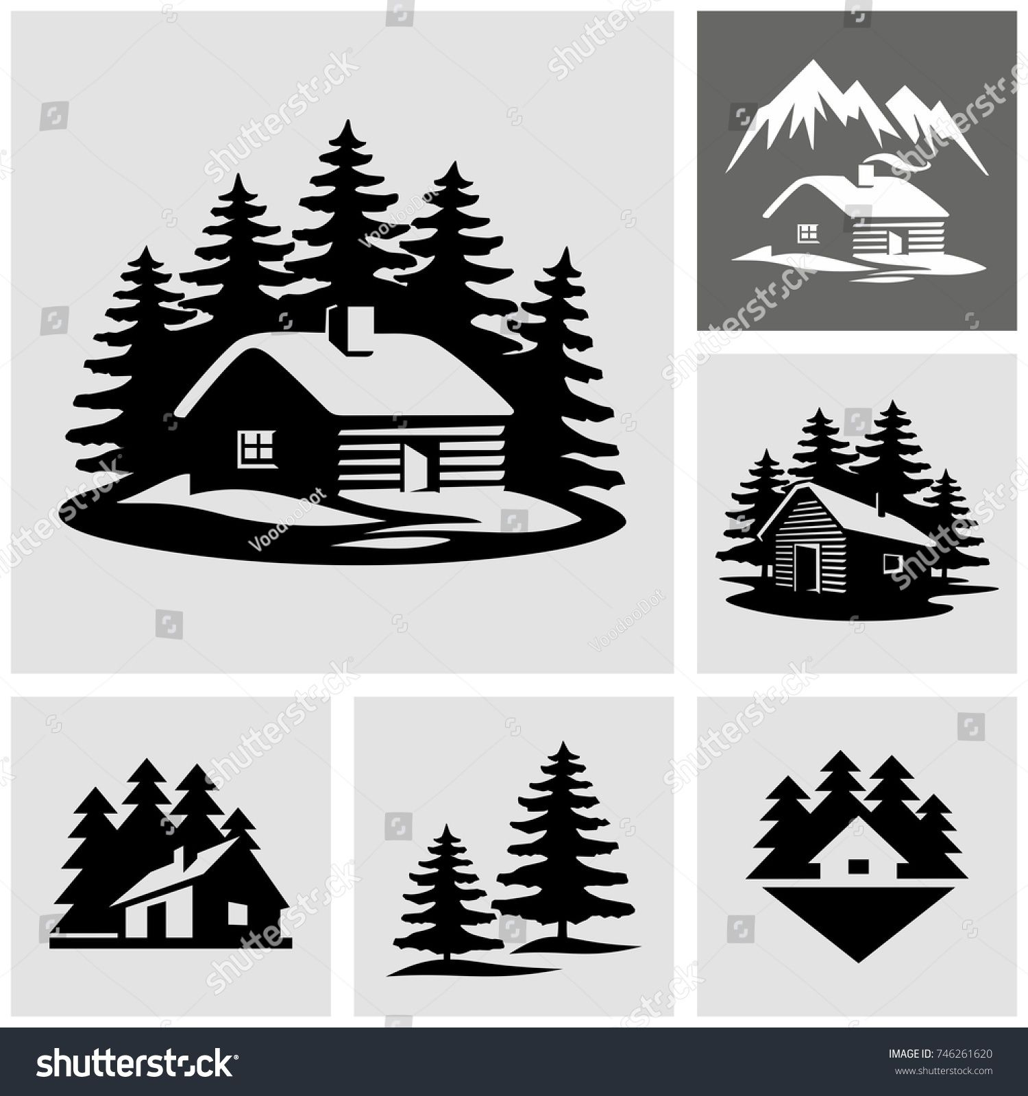 Log cabin in the woods vector icon Cabin tattoo, Wood