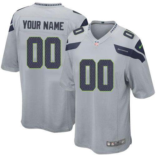 online store 7694c 6939e Custom Seahawks Gray Jersey - Nike Limited Stitched Seattle ...