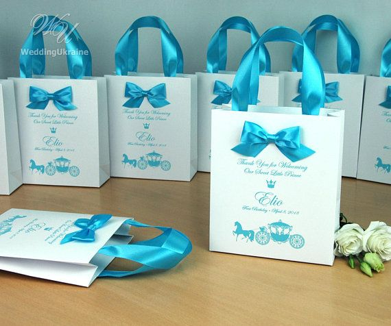 1st Birthday Gift Bags For Favors Personalized Thank Your Bag With Light Blue Satin Ribbon Handles Bow Baby Boy First Party Favor