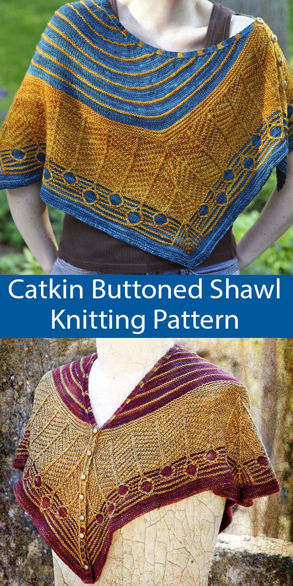Photo of Knitting Pattern for Catkin Buttoned Shawl can be worn as a capelet, cowl, etc.