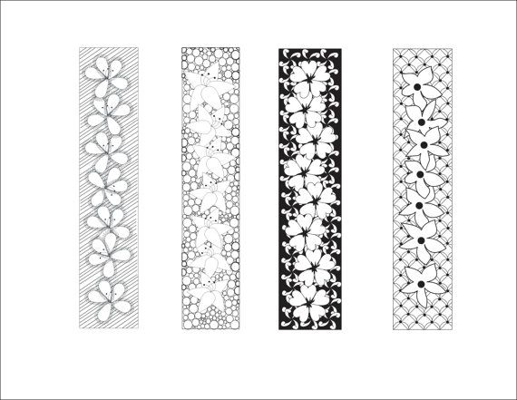 DIY Love Lines Floral Bookmarks, Bookmarks to Print and Color ...