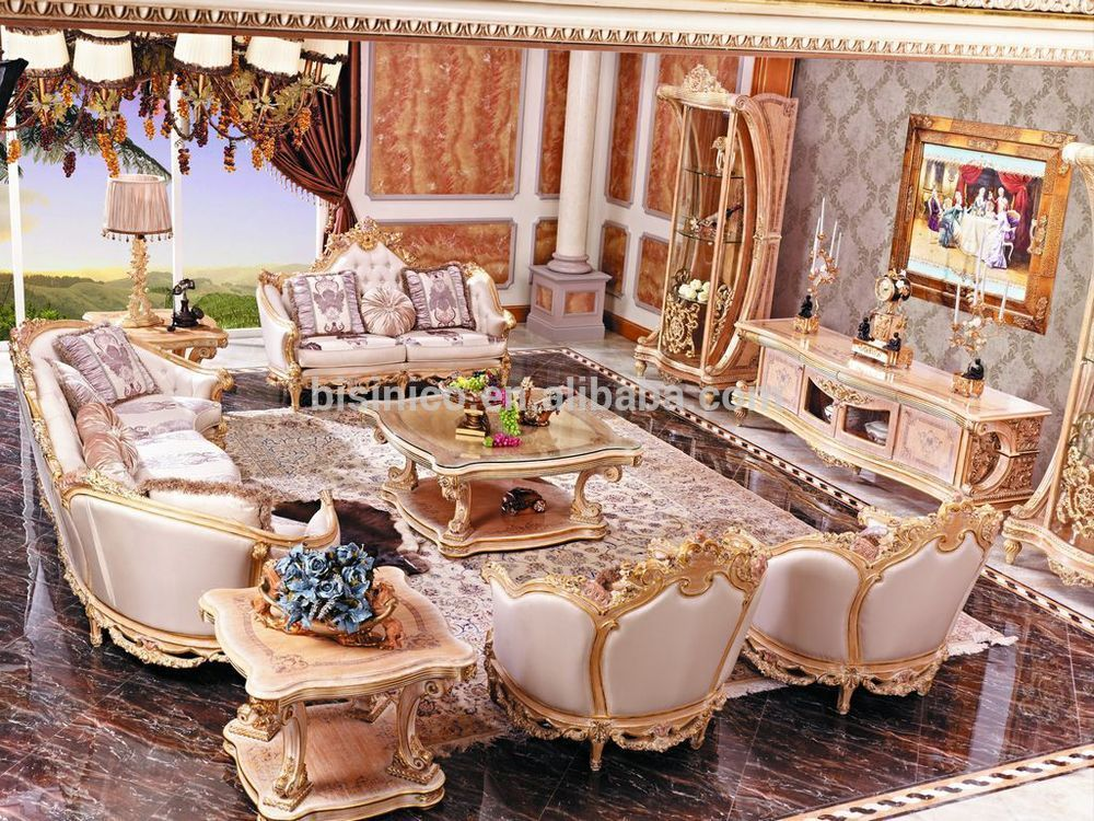Luxury French Baroque Style Living Room Furniture Sofa Set/European Royal  Palace Hand Carved Beige