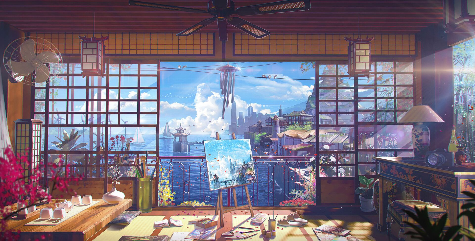 A Languid Afternoon By Taehoon Kanghello I M Showing You A Comfortable Little House With A View Of The O Anime Scenery Wallpaper Anime Background Anime Scenery