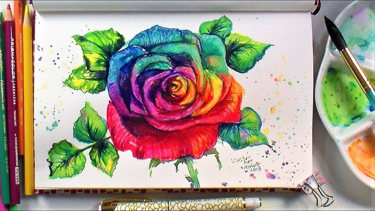 Rainbow Rose Sketchbook Sunday Watercolor Colored Pencil Time